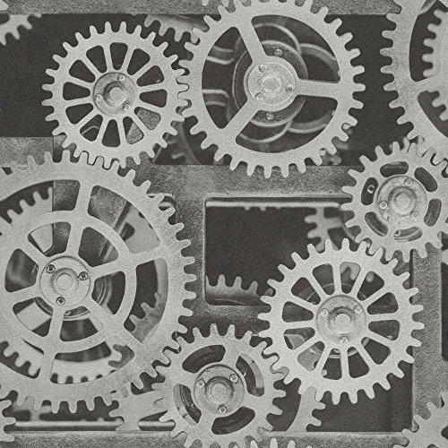 Rasch Tapeten 940107 Vliestapete mit silbernen Zahnrädern – 10,05m x 53cm (L x B) Vlies Tapete Rasch Kollektion Factory III, Silber, 10,05-0,53