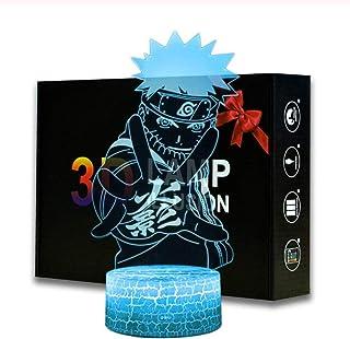Veilleuse Groupe Naruto 3d Illusion Lampe 16 Couleurs LED Tactile Lampe de Table Art Déco Enfant Lumière de Nuit avec télé...