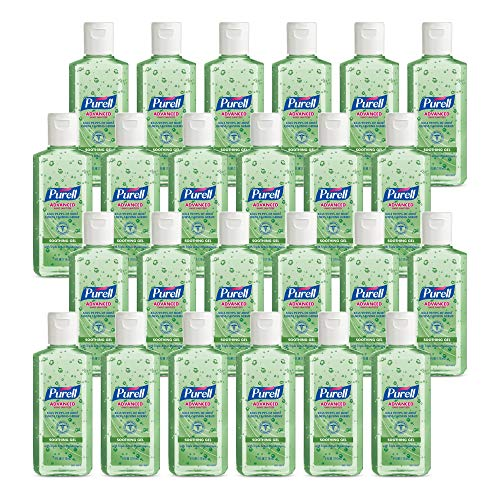 PURELL Advanced Hand Sanitizer Soothing Gel, Fresh Scent, with Aloe and Vitamin E - 4 fl oz Travel Size Flip Cap Bottle (Pack of 24) - 9631-24