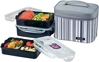 LOCK & LOCK Rectangular Lunch Box 3-Piece Set with Insulated Gray Stripe Bag