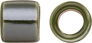 Tube Licorice Ceramic Bead Fits 10x8mm Licorice Leather Moss Green Glazed Finished