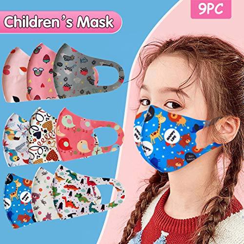 Gesichtsschutzschild 3D, Mundschutz,Atemschutz Mundschutz Mund und Nasenschutz,Mehrweg Atmungsaktiv Stoffmasken Halstuch Bandana Tuch, Mund und Nasenschutz Für Kinder 9PCS!