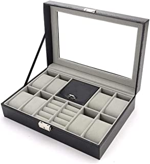 HEMFV Jewelry Boxes & Organizers PU Leather Men Valet Box Women Watch and Jewellery Storage Case for 8 Watches, Cufflinks ...