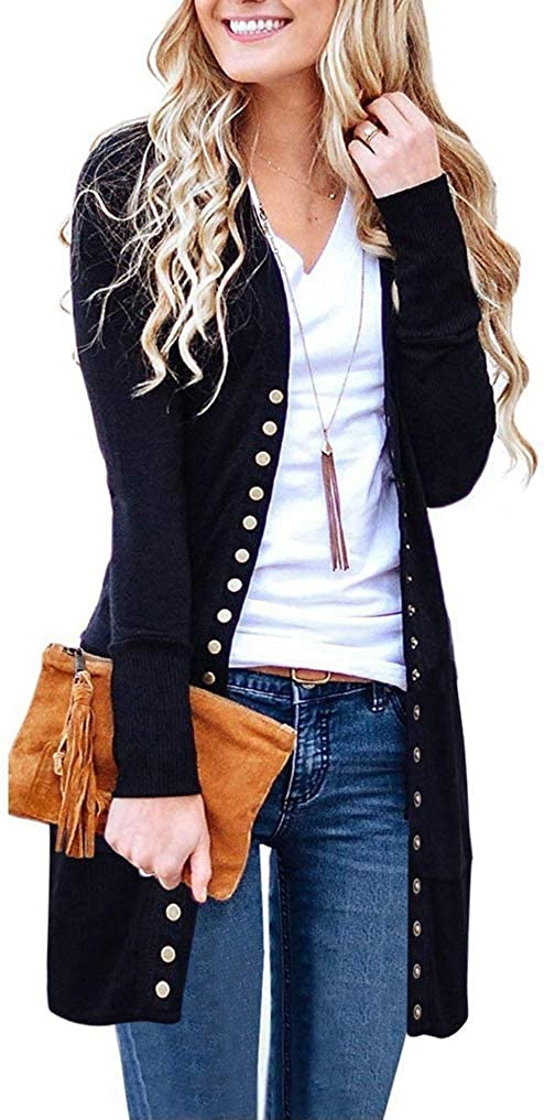 Halife Women's Long Sleeve Cardigan Sweaters Snap Button Open Front Knit Ribbed Neckline Cardigans