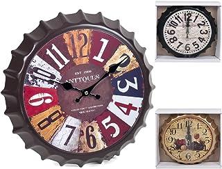 Cisne 2013, S.L. Reloj de Pared Chapa Cocina diseño Vintage. Tamaño 34cm. Reloj de Cocina con Forma de Chapa Original.
