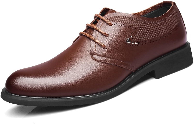 Apragaz Männer Casual Outdoor Outdoor Outdoor Arbeit Oxfords Lace Up Prince Leder Weiche Sohle Atmungs Wohnungen Plain Formale Schuhe (Farbe   Braun, Größe   44 EU)  c92557