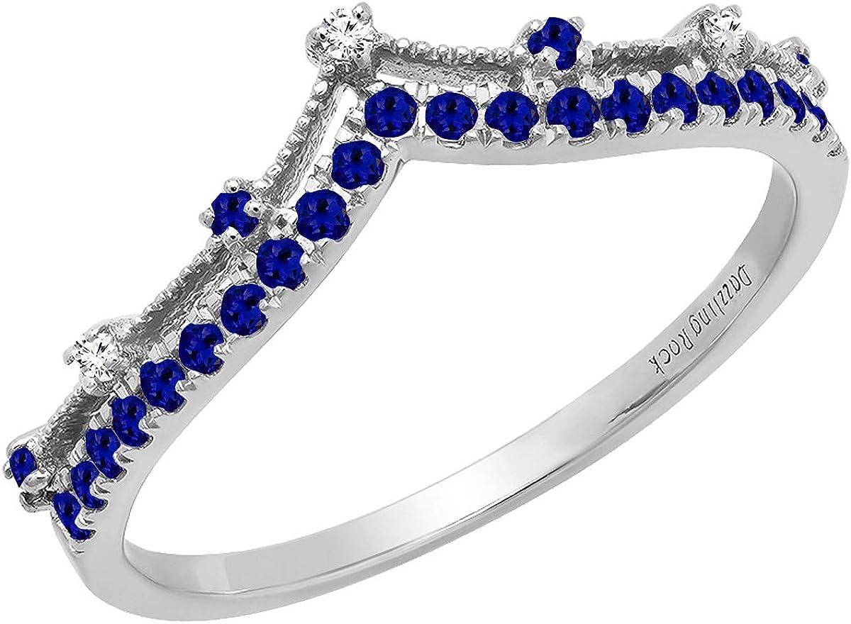 Dazzlingrock Collection Round Gemstone & White Diamond Ladies Chevron Wedding Band, 10K Gold