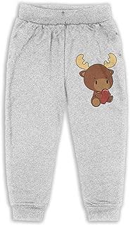 ELCW37K Kids & Toddler Pants Soft Cozy Baby Sweatpants Kawaii Moose Fleece Pants Training Pants