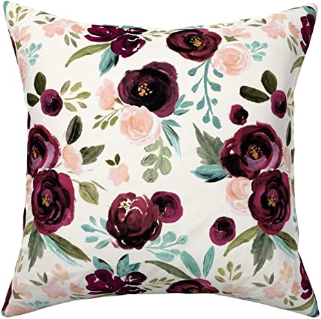 Amazon Com Roostery Throw Pillow Floral Watercolor Dark Roses With Leaves Rose Plum Maroon Turq Olive Print Linen Cotton Canvas Knife Edge Accent Pillow 18in X 18in With Insert Home Kitchen