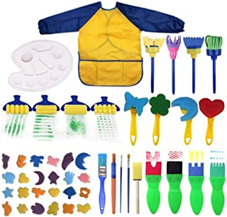 AM ANNA Kids Early Learning Sponge Painting Brushes Kit, 47 Pieces Sponge Drawing Shapes Paint Craft Brushes for Toddlers ...