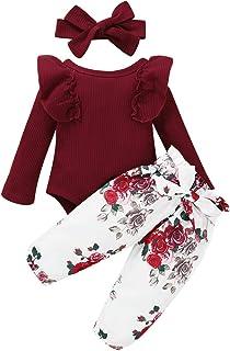 Enfant en Bas âge bébé Fille côtelé à Manches Longues Couleur Unie Body à Volants Pantalon Floral avec Bandeau 3 pièces En...