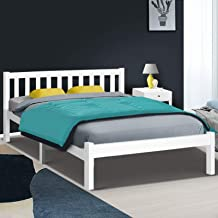 Artiss Double Bed Frame, Timber Bed Base with Ample Underneath Storage Space, White