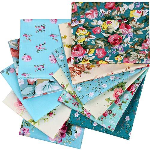 12 Piezas Tela Floral Acolchado Costura Patchwork Paquetes Grandes 20 x 16 Pulgadas/ 50 x 40 cm, Tela de Algodón Precortada para Manualidades Acolchado Costura Bricolaje