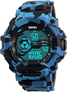 Fanmis Men's Digital LED Sports Watch Waterproof Electronic Casual Military Wrist Camouflage Blue Strap Boys Watch With Silicone Band Luminous Army Watches