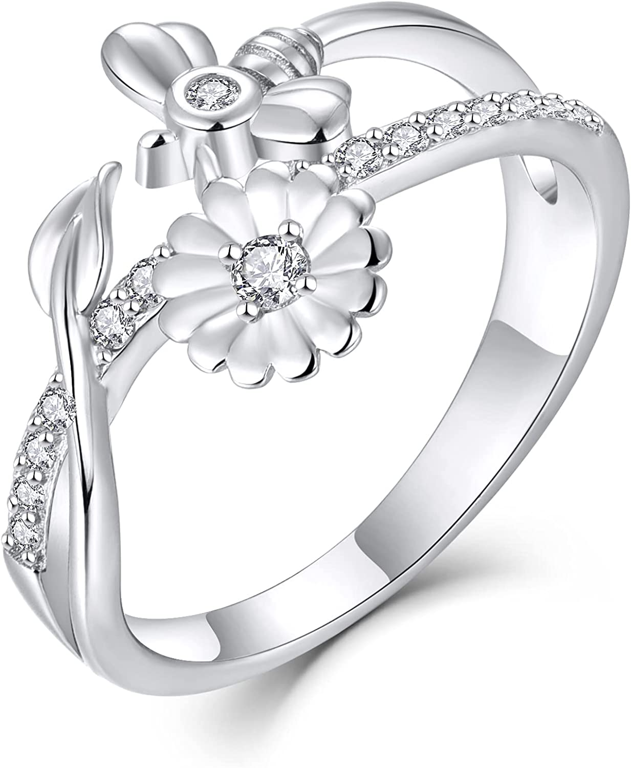 FJ Bee Ring Ranking TOP11 Women 925 Silver Flower and Honey Jewelry Diasy Popular brand in the world