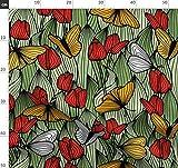 Tulpe, Schmetterling, Grün, Rot, Gelb Stoffe - Individuell