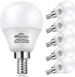 Winshine G45 Candelabra Led Light Bulb, Globe Bulb for Chandelier .6W E12 Base 2700K Warm White Candle Light for Ceiling Fan, Chandelier Bulb, Non Dimmable LED Base Bulb, 6 Pack. (2700K)
