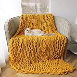 Sylanfia Chunky Knit Blanket Chenille Throw - Soft Knitted Blankets, Cozy Cable Knit Blanket - Warm Chunky Yarn Blanket for Couch Sofa Bed - Bulky Crochet Braided Blankets, Boho Home Decor 50' x 60'
