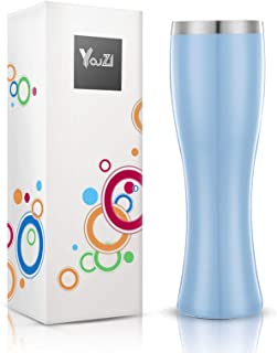 YouZI Beer Glasses,Stainless Steel Stemless Insulated Beer Tumbler with No LId,19 oz Double Wall Beer Mugs Vacuum-Insulation for Beer, Beverage,Cocktails and Juice (Blue)