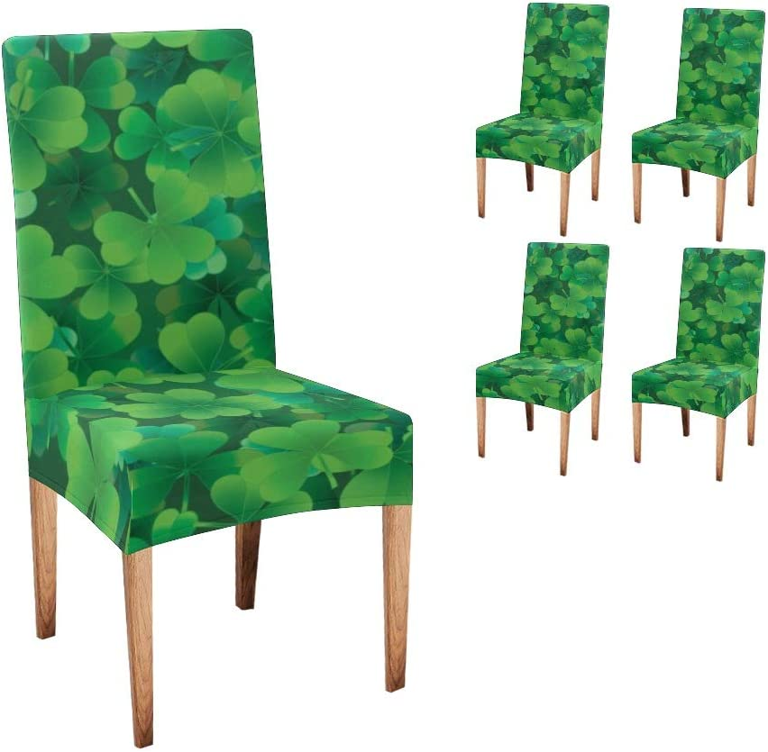 CUXWEOT Chair Covers for Reservation Dining St Clover San Antonio Mall Room Custom Happy