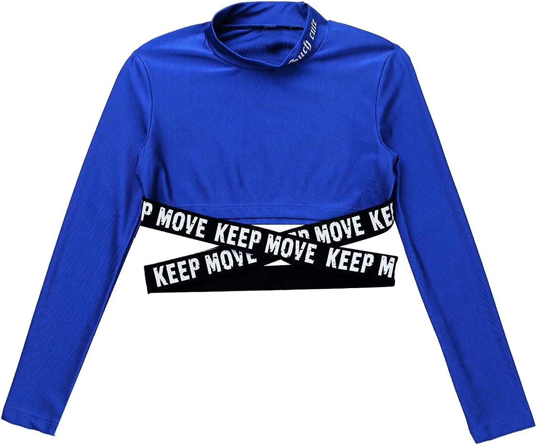 vastwit Kids Girls High Mock Neck Sports Crop Tops Sash Cross Ballet Yoga Gym Tops T-Shirts Activewear