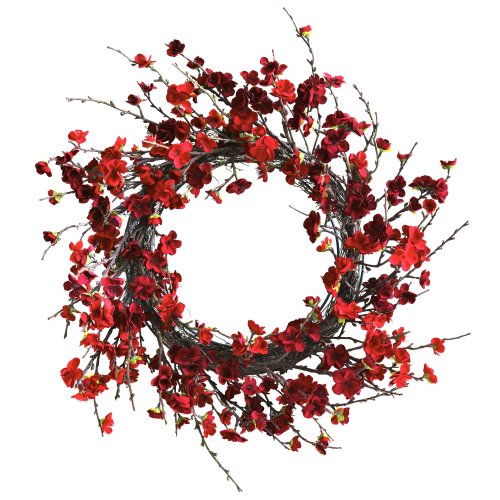 Nearly Natural 4813 Plum Blossom Wreath, 24-Inch, Red,16