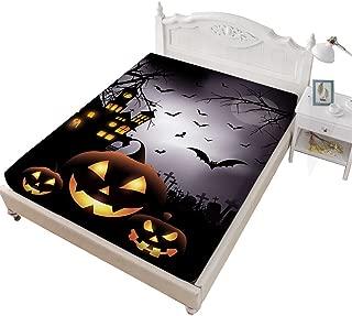 Rhap Twin Fitted Sheet, Cartoon Halloween Printed Twin Size Sheet, Dark Pumpkin Halloween Decor 1 Piece Twin Size Deep Pocket Bedding Fitted Sheet