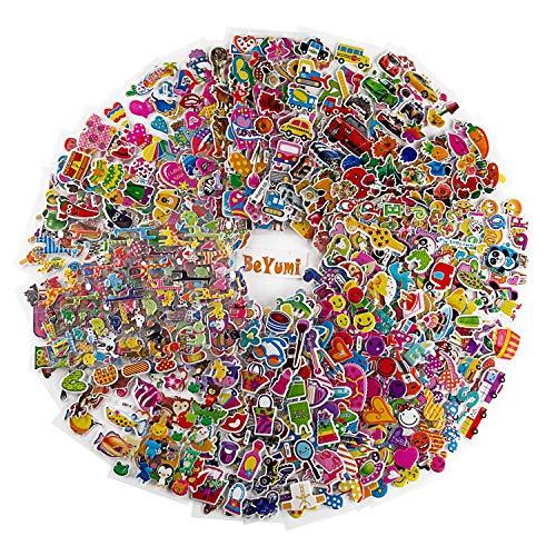 BeYumi 58 Stücke Aufkleber für Kinder (1800+Count), 3D Puffy Stickers, Craft Scrapbooking for Kinder, Including Tier,Auto,Trucks, Flugzeug,Essen, Buchstaben, Blumen, Haustiere und Mehr!