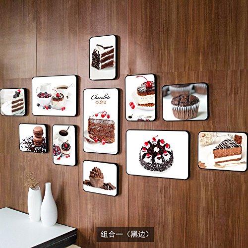 Cake Shop Foto muur Bakkerij Conditorei kamer muur foto frame combinatie decoratieve wand, de combinatie van een zwarte rand
