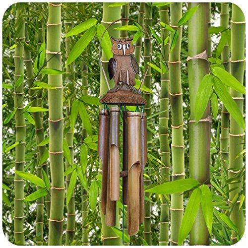Simandra Windspiel Klangspiel Bambus Klang Deko Klangröhren Entspannung Garten Türglocke Kokosnuss Eule Größe Groß