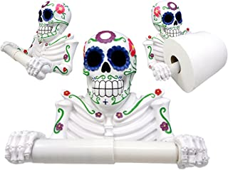 Atlantic Collectibles White Day Of The Dead Sugar Skull Floral Skeleton Toilet Paper Holder Bathroom Wall Decoration Figurine