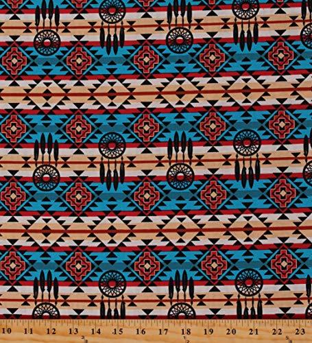 Cotton Aztec Southwestern Patterned Native Dreamcatcher Multicolor Cotton Fabric Print by The Yard (D462.60)