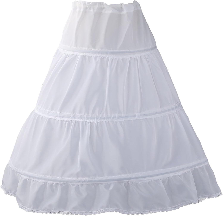 Girls Petticoat 3 Hoops Petticoat Full Slip Flower Girl Crinoline Skirt for 2-12 Years Old