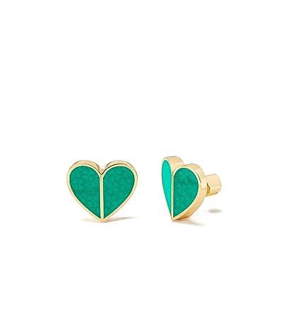 Kate Spade New York Heritage Spade Textured Heart Statement Studs Earrings (Green) Earring