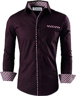 TAM WARE Mens Premium Casual Inner Contrast Dress Shirt