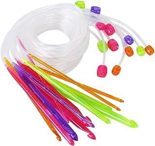 WINOMO 12tailles Plastique Tapis au crochet Crochets Aiguilles à tricoter 3.5mm à 12,0mm avec câble
