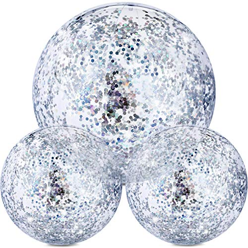 Hsei 3 Pieces Inflatable Beach Ball Glitter Beach Ball Floatable Confetti Ball for Summer Beach, Pool and Party Favor (Silver)