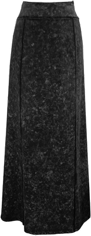 Baby'O Women's Stretch Knit Acid Wash Panel Maxi ALine Skirt