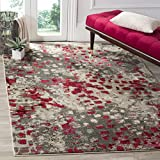 Safavieh Monaco Collection MNC225R Boho Chic Abstract Watercolor Non-Shedding Stain Resistant Living Room Bedroom Area Rug, 3' x 5', Grey / Fuchsia