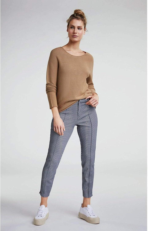 Oui Dogtooth Pantalon à Carreaux Bleu Foncé et Blanc.