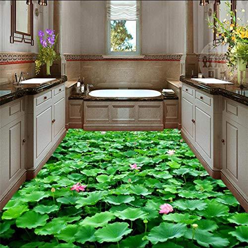 Pond Flowers Plant Floor Sticker 3D Wall Paper Bathroom Mural Romantic Non-Slip Waterproof Self Adhesive PVC Wallpaper