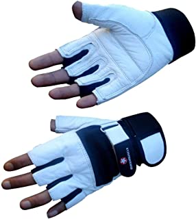 4Fit Maximuscle Heavy Duty Weight Lifting Gloves Gym Training Leather Padded Palm