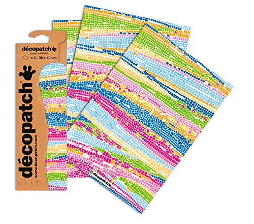 Decopatch Papier No. 506 (bunt Mosaik, 395 x 298 mm) 3er Pack