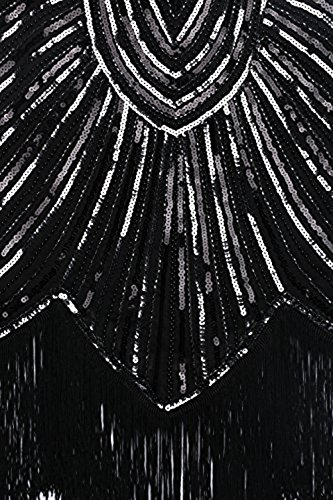 BABEYOND 1920s Flapper Dresses 20s Great Gatsby Dress 1920s Beaded Embellished Fringed Dress, Small, Black