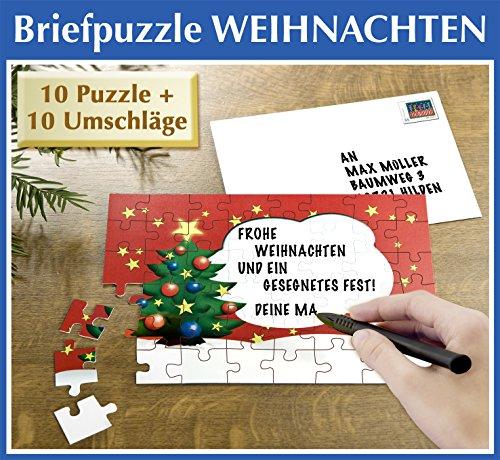 Puzzle Weihnachtsbrief Weihnachtskarten Set beschreibbar mit Umschlag im 10 er Set für Weihnachten