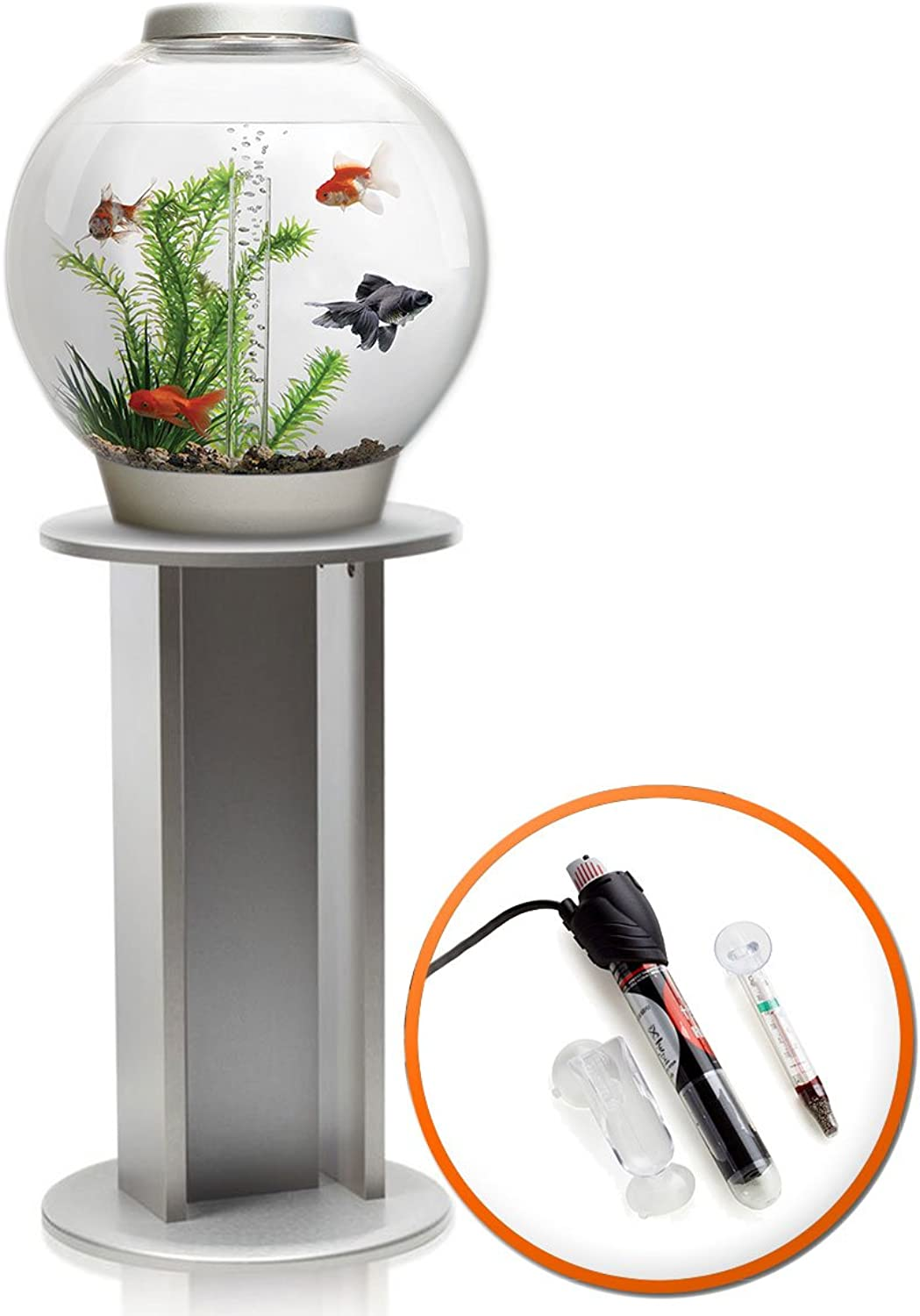 BiOrb Classic 30L Aquarium in Silver with MCR LED Lighting, Heater Pack & Silver Stand