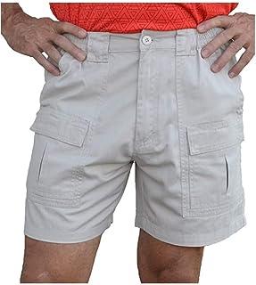 UUGYE Men's Elastic Waist Multi-Pockets Loose Fit Outdoor Casual Cargo Shorts