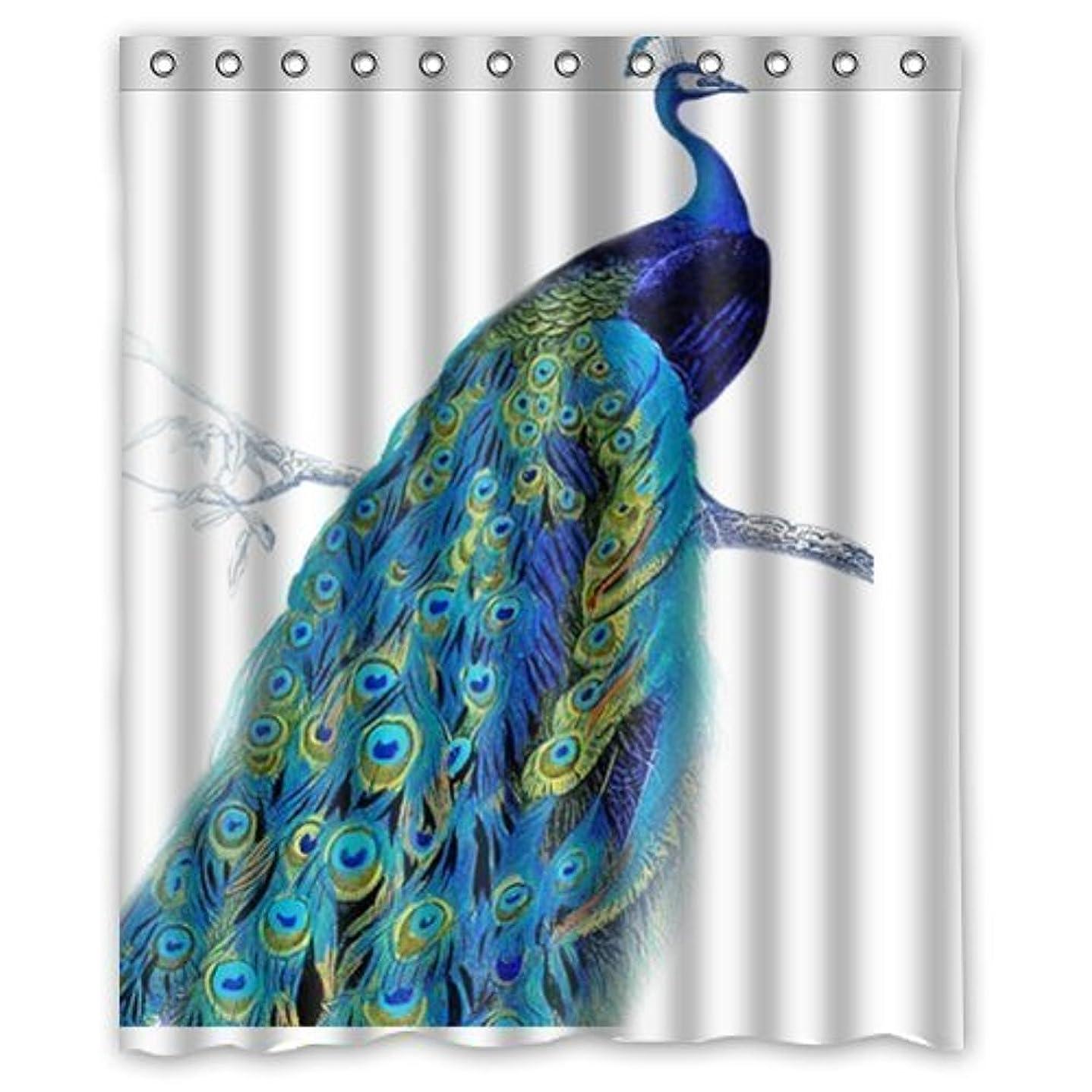 のために篭オペラインテリア かわいい孔雀 シャワーカーテン 防カビ おしゃれ バスカーテン 90x180cm