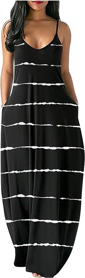 Women's Casual Short Sleeve Maxi Dress Loose Long Dresses with Pockets Oversized Boho Summer Dress Sexy Sundress