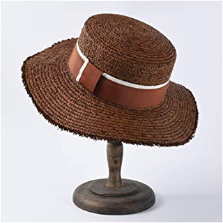 SHENLIJUAN Lafite Straw hat Female Flat Sunscreen Visor Men's Flat top Sun hat Beach hat (Color : Coffee)